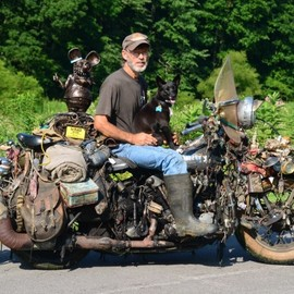 "Harley-Davidson - The Rat King Of Flat Link, Kentucky and his ciassic Harley ""Rat Bike"""