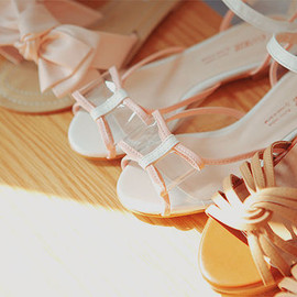 clear ribbon sandal
