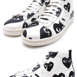 PLAY COMME des GARCONS x CONVERSE - Heart Print Pro Leather Hi