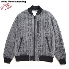 WhiteMountaineering - WOOL COTTON CABLE KNIT JACQUARD FLIGHT JACKET