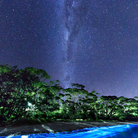 South Coast NSW, Australia - Milky Way Over Bio-luminescent Plankton