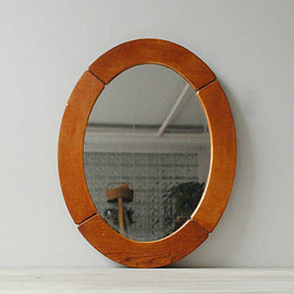 vintage - Vintage Oval Wood Mirror, Wooden Wall Mirror