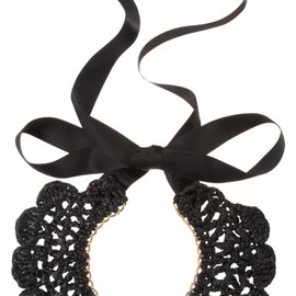 MARNI - crocheted coal bib necklace