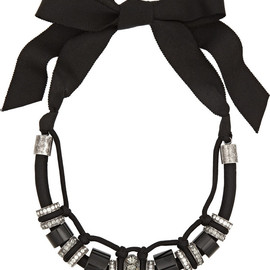 LANVIN - Gunmetal-tone, bead and crystal necklace
