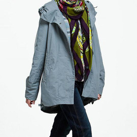 Hooded dark button Two side Drawstring Coat