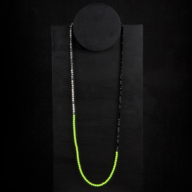 Florian - neon, silver & black beaded necklace