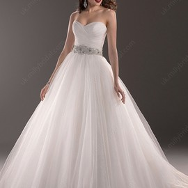 Ukmillybridal - Ball Gown Sweetheart Tulle Court Train Sequins Wedding Dresses #00020373