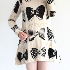 Casual Oversize Bowknot Print Polo Neckline Knit Sweater Dress