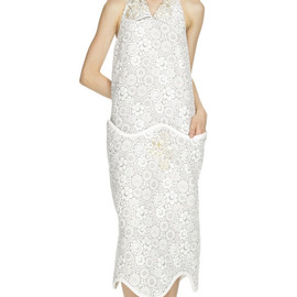 THOM BROWNE - Scallop Magic Eye Halter Dress in Grey and White Baroque Floral