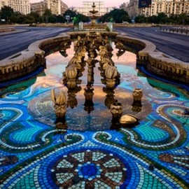 Bucharest, Romania - mosaic blue