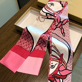 Burberry - Burberry Unicorn And Monogram Print Silk Skinny Scarf Rose