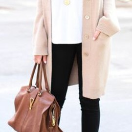 neutral color Long cardigan