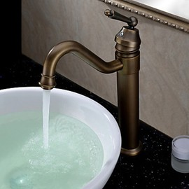 FaucetSuperDeal - Antique Classic Solid Brass Bathroom Sink Faucet with Pop-up Waste - FaucetSuperDeal.com