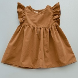 brown ruffle dress for little girl  shopminikin
