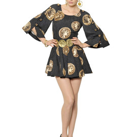 DOLCE&GABBANA - SS2014 COTTON BLEND BROCADE EFFECT COIN DRESS
