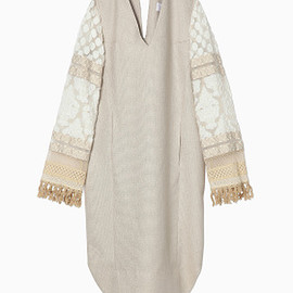 mame - 16SS Cut Jacquard Sleeve I-Line Dress - beige