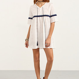 Romwe - Tassel Tie-Neck Woven Tape Embellished Dress/Top