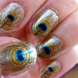 chachacovers - GODDESS OF LOVE Oshun Nail Decals Peacock Feathers