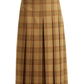 GUCCI - FW2018 Checked pleated wool midi skirt