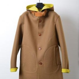 White line - Water-repellent Melton Hood Coat