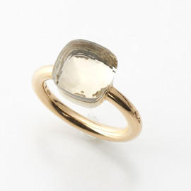 NUDO RING IN ROSE AND WHITE GOLD WITH LEMON QUARTZ