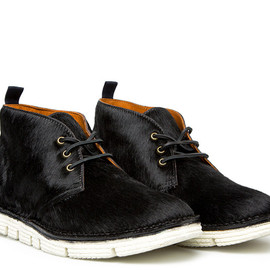 BUTTERO - BLACK PONY SKIN HIGH-LACED BOOTS WITH VIBRAM V-LITE RUBBER SOLE (B5611UHGB1/01FOD.VITP)