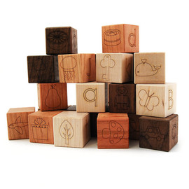 littlesaplingtoys - Alphabet picture blocks - modern 26 piece wooden toy letter building blocks