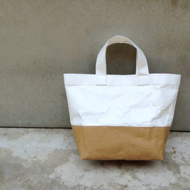 Belltastudio - Two tone kraft and tyvek paper lunch bag handles tyvek paper