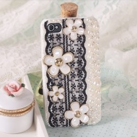 lovely pearl lace flower case for iphone 4/4s/5