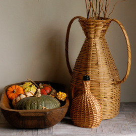 Demijohn Bottle and Tall Wicker Basket with Handles Set