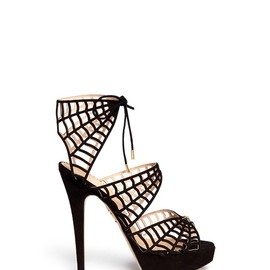 Charlotte Olympia - CAUGHT IN CHARLOTTE'S WEB' SUEDE CAGED SANDALS