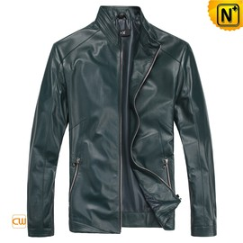 CWMALLS - Mens Blue Italian Leather Jacket CW812231