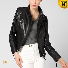 cwmalls - CWMALLS Womens Leather Cropped Jacket CW650029