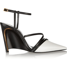 LANVIN - Two-tone leather wedge pumps