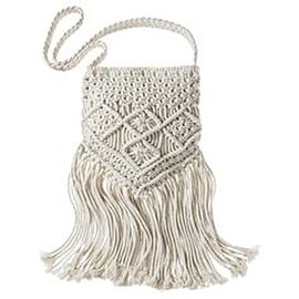 Topshop - Cream Macrame Fringe Crossbody Bag