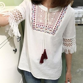 SLEEVE-LESS GATHERED TUNIC BLOUSE