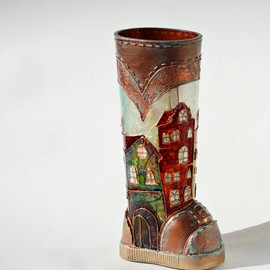 NevenaArtGlass - Magic City Glass Boot Hand Painted Copper Multicolor Home Decor OOAK