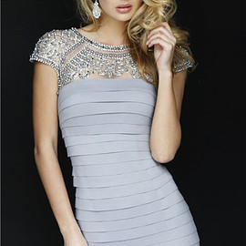 Sherri Hill 32282 - Sherri Hill 32282 Silver High Neck Beaded Bandage Slim Short Prom Dress 2015