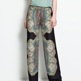 zara - printed wide pants
