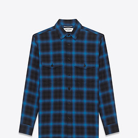 Saint Laurent Paris - OVERSIZED SHIRT IN BLUE AND BLACK TARTAN PLAID COTTON