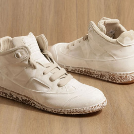 Maison Martin Margiela 22 - white painted mid-top sneakers