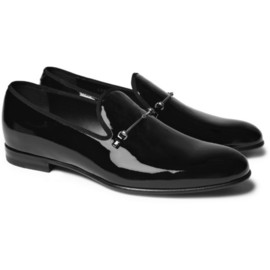 Gucci - Patent-Leather Horsebit Slippers