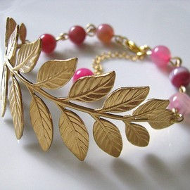 AllureByu - Brass Botanical Branch With Pink Striped Agate Round Gemstone Beads Bracelet