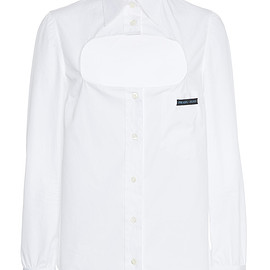 PRADA - SS2019 Cotton Poplin Cut Out Blouse With Mother Of Pearl Buttons