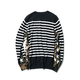 SOPHNET. - CAMOUFLAGE STAR SIDE PANEL BORDER CREW NECK KNIT