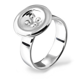 Lucy Q - Silver Button Ring