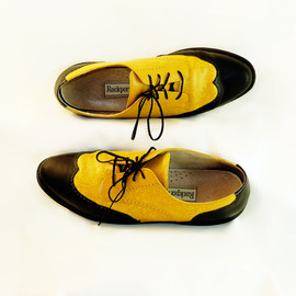 Wing Tip Shoes Bright Yellow and Black Leather Oxfords Boho Wedding Halloween or Everyday Geekery