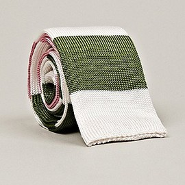 THOM BROWNE - Thom Browne Men's Long Flat Knit Tie in pink / white / green