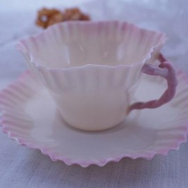 "Belleek - Antique cup&saucer ""Hexagon"""