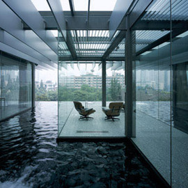 Kengo Kuma - Transparent Villa, surrounded with water